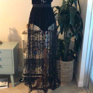 Sheer skirt with stars